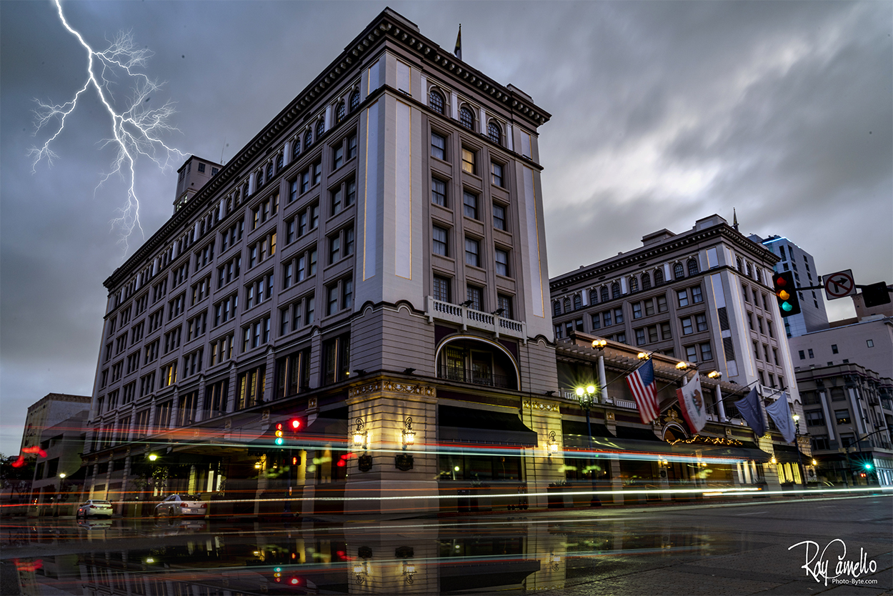 Grant Hotel in Downtown San Diego. Dry day to wet after editing.